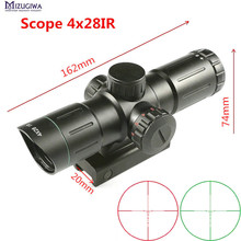 On sale Hunting Airgun Scope 4X28IR Laser Green Red Illuminated Range Finder Reticle optics sight Sniper hunting Short rifle scope caza