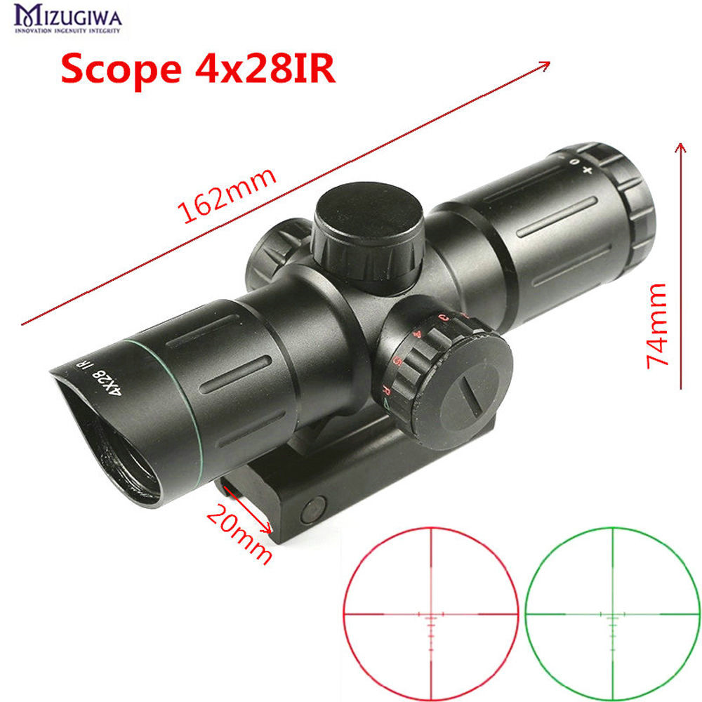 Hunting Short Scope 4X28IR Laser Green Red Illuminated Range Finder Reticle optics sight Sniper hunting Airgun rifle scope caza maifeng 10x 25mm handheld hunting laser range finder black army green 1 x cr2