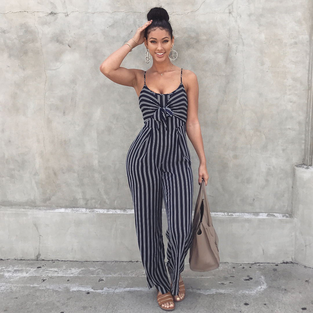 Sexy Vintage Office Women Clubwear Strappy Striped Elegant Playsuit Bandage Beach Bodysuit Summer Party Jumpsuit Female Body#sw