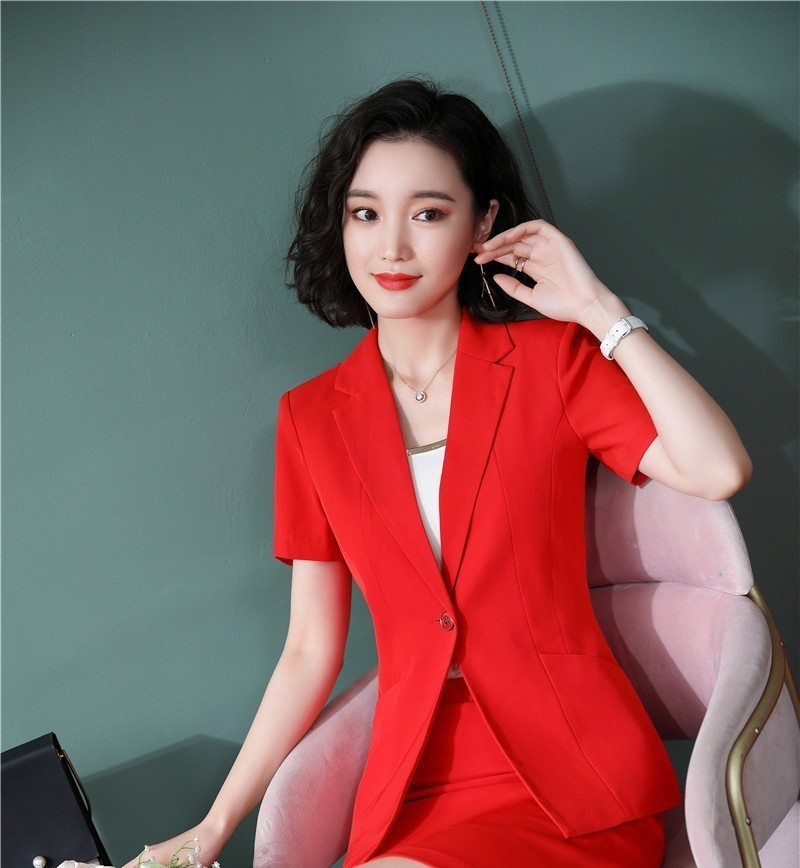 Novelty Red Slim Fashion Short Sleeve Professional Women Blazers And Jackets Coat For Ladies Office Work Wear Outwear Tops