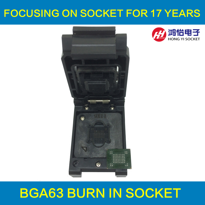 VFBGA63 BGA63 Burn in Socket Test Socket Pin Pitch 0.8mm IC Body Size 10.5x13.5mm Programmer Adapter Burning Socket цена