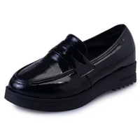 Women Chic Spring Metallic Loafer Slip ON Casual Round Toe Pu Leather Flat Shoes Woman Platform
