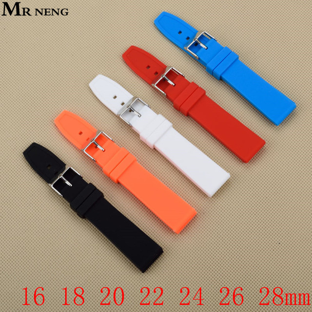 Rubber Silicone 16/18/20/22/24/26/28mm Solid Watch Black Red White Multi Color A