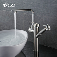 DUZI Pull Out Bathroom Basin Sink Faucet 2 Function Sink Mixer Faucet Pull Down Dual Sprayer