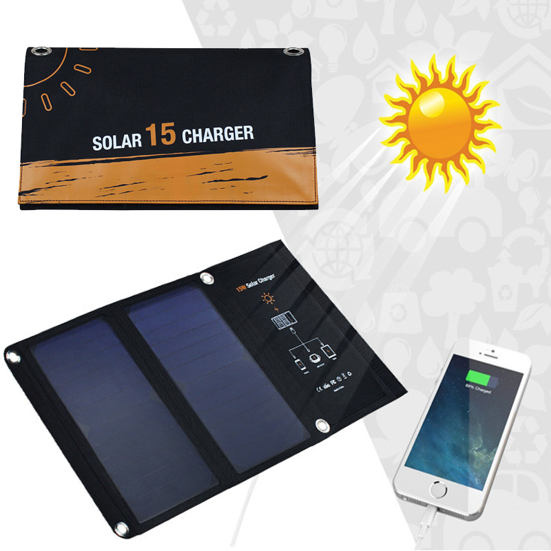15W 5V Solar Charger with Dual USB Port Foldable Portable Solar Panel for iPhone 6s 7 Plus, for Samsung Android Mobile Phones