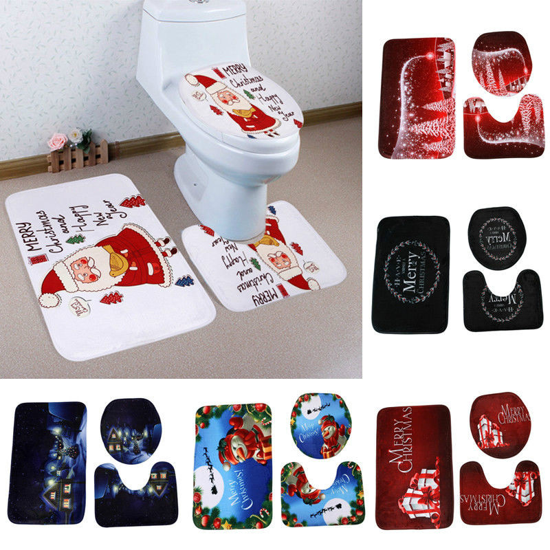 Phenomenal Us 8 58 3Pcs Set Christmas Bathroom Toilet Seat Cover Rug Mat Christmas Wc Decorations Novelty Design Cartoon Toilet Seat Cover In Toilet Seat Squirreltailoven Fun Painted Chair Ideas Images Squirreltailovenorg