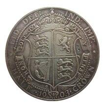 Дата 1903 1904 1909 Великобритания 1/2 Корона-Эдварда VII копия монет