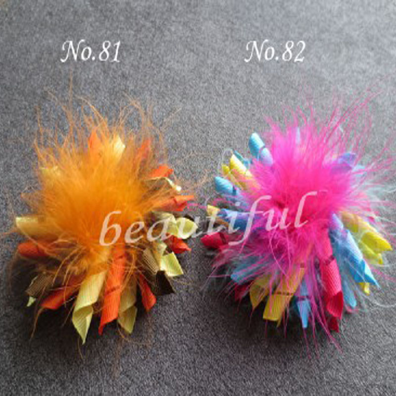 50 Pcs New Girl's Feather Corker Topknot Hair Accessories  Bow  Free Shipping