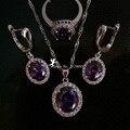 Ladies Jewelry Set Purple Rhinestone Crystal Necklace Rings Fashion Jewellery Sets Wedding Dress Bijoux Mariage En Argent YS003