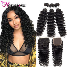 Hermosa Brazilian Deep Wave Bundles With Closure Double Weft Remy Human Hair Weave 3 Bundles With Closure Natural Black(China)