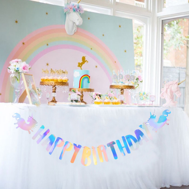 Unicorn Party Decorations 1pc Set Rainbow Shinning Hanging Happy Birthday Banner For Kids Supplies