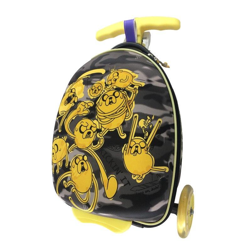 Letrend 귀여운 만화 어린이 스케이트 보드 롤링 수하물 스피너 가방 바퀴 학생 다기능 트롤리 키즈 여행 가방-에서여행용 가방부터 수화물 & 가방 의  그룹 3