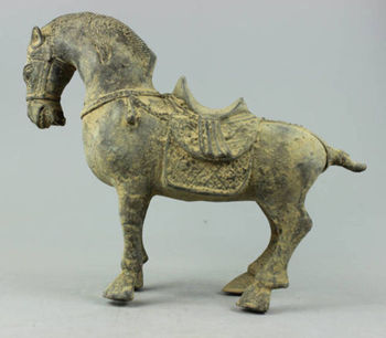 Collectible antique Decorated Old 270 year Handwork Bronze sculpture Horse statue