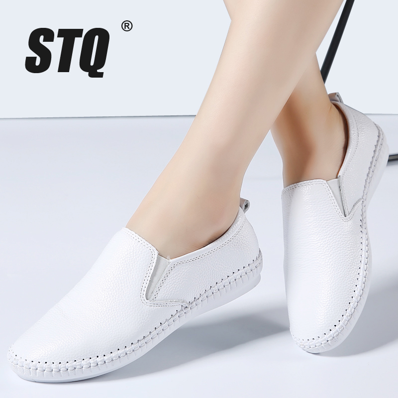 STQ Loafers Shoes Ballet-Flats Slip-On Spring Women White Casual Genuine-Leather Ladies