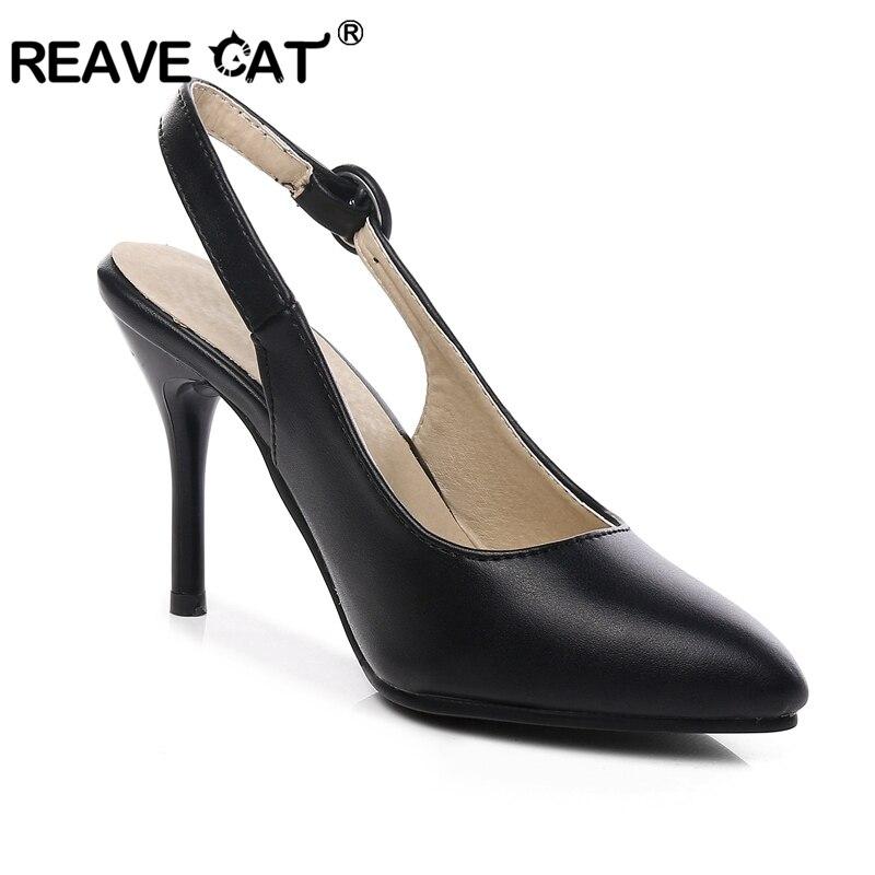 Chaussures black D'été Femmes Femelle A645 Casual Pointu Noir Talons Chat Orteil Apricot Pu Reave Mujer Boucle Hauts Abricot Pompes Mode Dames Rxwq5BE6Y