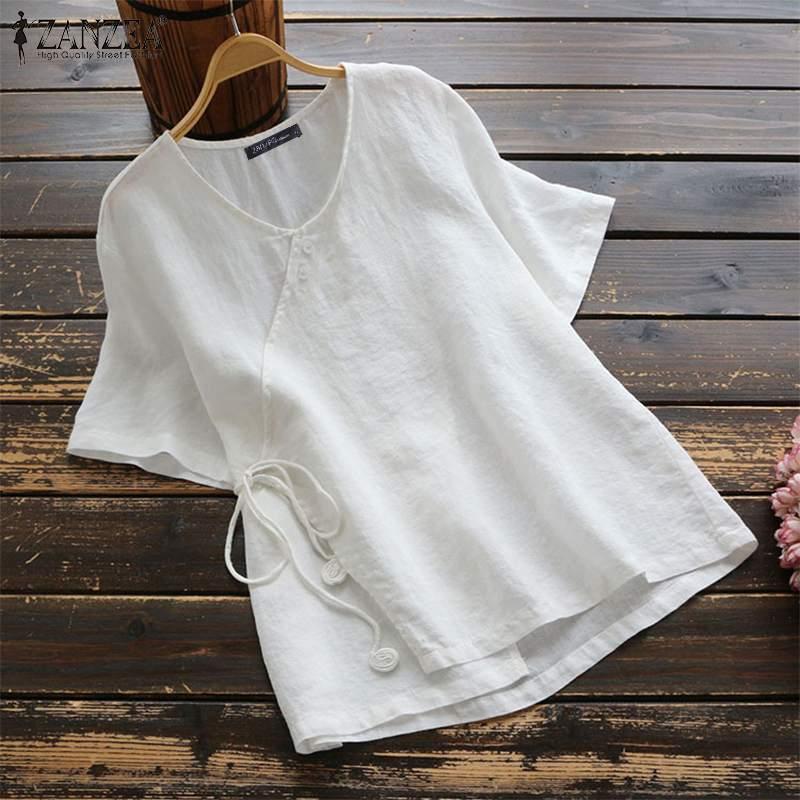 ZANZEA Verão VintageBlouse Trabalho Blusas Mulheres Camisa de Algodão de Manga Curta Sólida Robe Femme Casuais Túnica Tops Femininas Plus Size