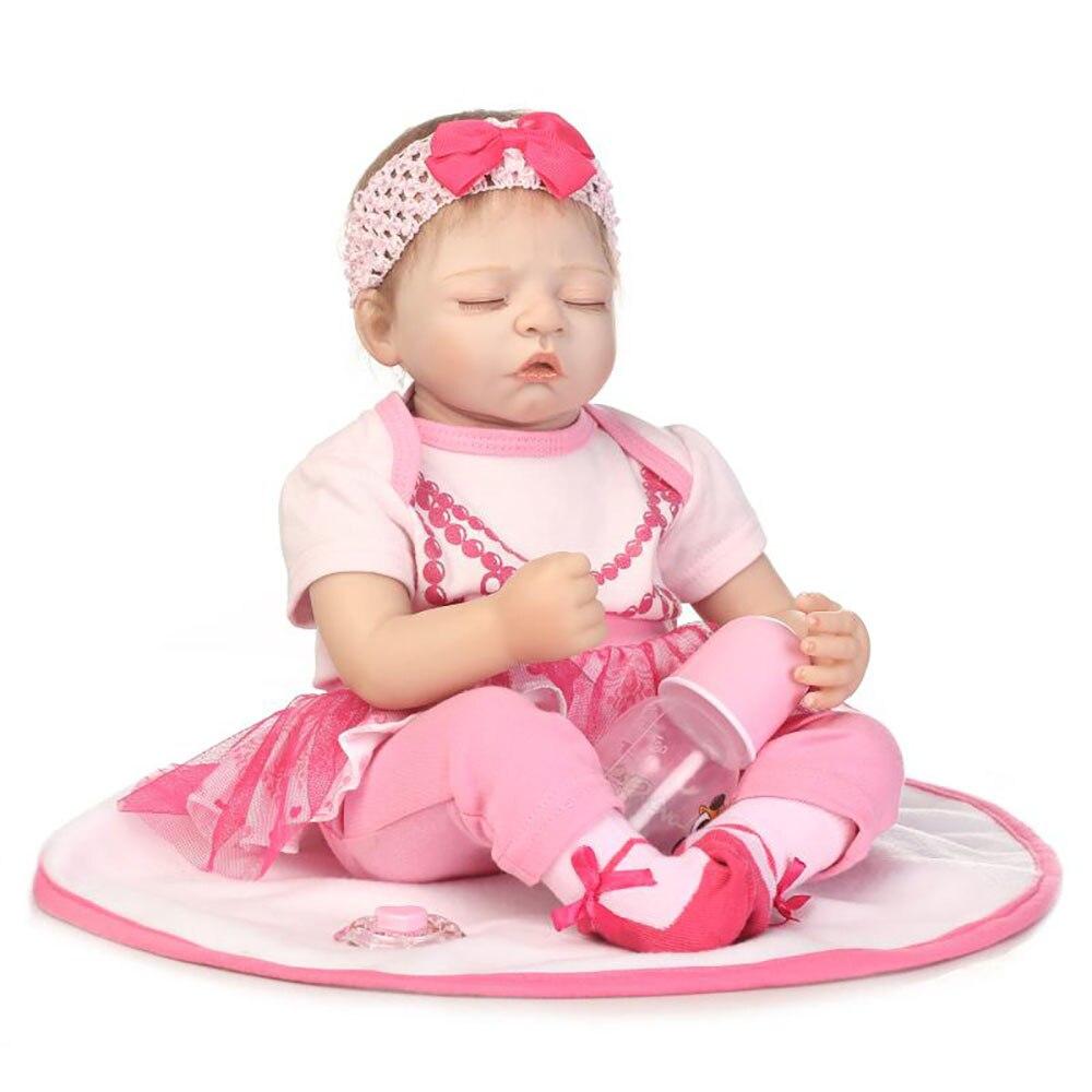 50cm Sleeping Baby Doll Bebe Reborn Toys Soft Silicone Vinyl Newborn Babies Pink Clothing Set Girl Dolls Xmas Gift Bonecas50cm Sleeping Baby Doll Bebe Reborn Toys Soft Silicone Vinyl Newborn Babies Pink Clothing Set Girl Dolls Xmas Gift Bonecas
