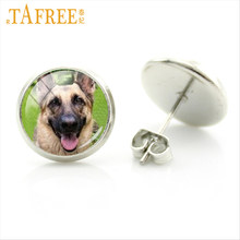 TAFREE exquisite handmade Cute Dog charms stud earrings fashion patient and kid-friendly German shepherd Beagle jewlery DG6(China)