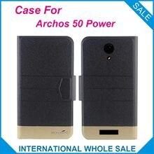 Hot! Archos 50 Caso Poder Novo Negócio Da Moda fecho Magnético Ultrafino Da Aleta de Alta qualidade Estojo De Couro Para Archos 50 de Energia