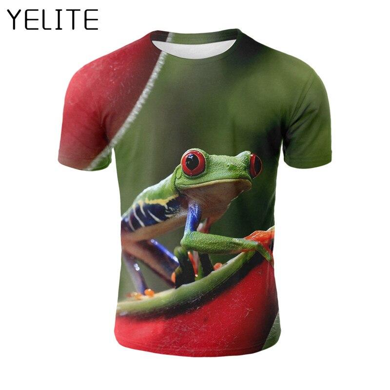 YELITE 2019 Beautiful Frog T-Shirt 3D Print T-Shirt Bright Funny Short Slevee Animals T Shirt Homme Tees Shirt Cool Streetwear