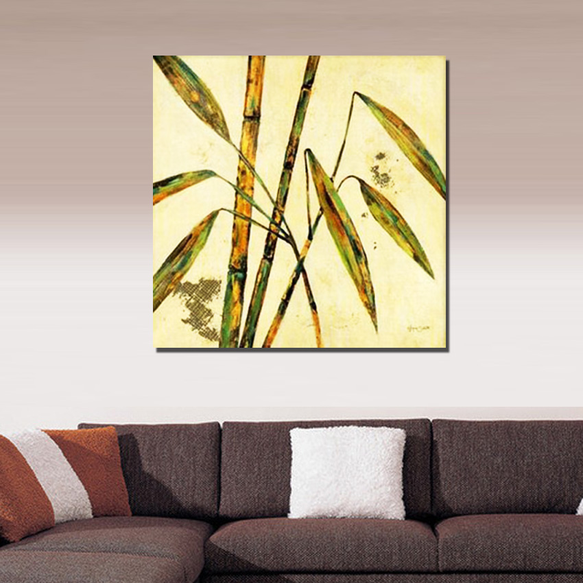 Unique gift abstract plant bamboo wall Art Handpainted Oil Painting On Canvas wall art picture ...
