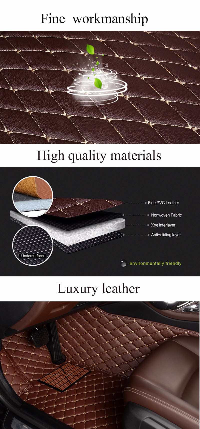 For Ford Escape 2013-2017 leather Car Floor Mats Waterproof Mat