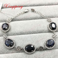 925 sterling silver with 100% natural Sapphire bracelet Fashion jewelry Mother a gift affordable