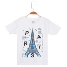 цена на New Arrival Boys Cotton T-Shirt Eiffel Tower Print Short Sleeve Casual Child Tee Shirts Hipster Funny Tops Kids T Shirt For Boy