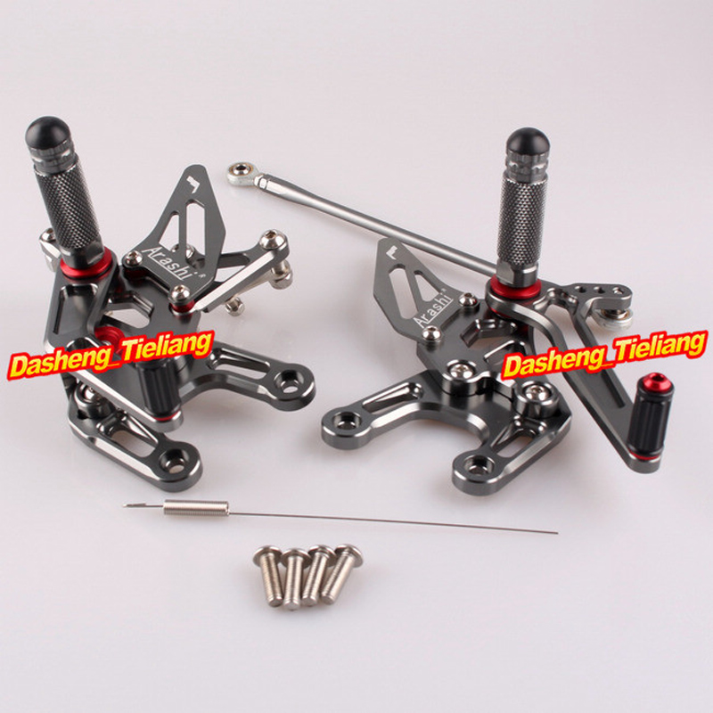 CNC Motorcycle Rearset Rear Set Footpegs for Kawasaki Ninja ZX10R 2008 2009 2010 Grey Pegs Adjustable, Aluminum Alloy cnc aluminum motorcycle adjustable rearset rear set foot pegs pedal footrest for kawasaki ninja 650 ex650 er 6n er 6f 2012 2016