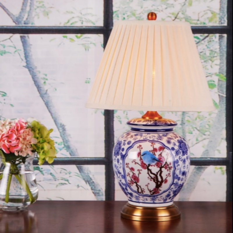 Classical Chinese Country Hand painted Blue Ceramic Fabric Led E27 Table Lamp for Living Room Bedroom Study Deco H 51cm 2182