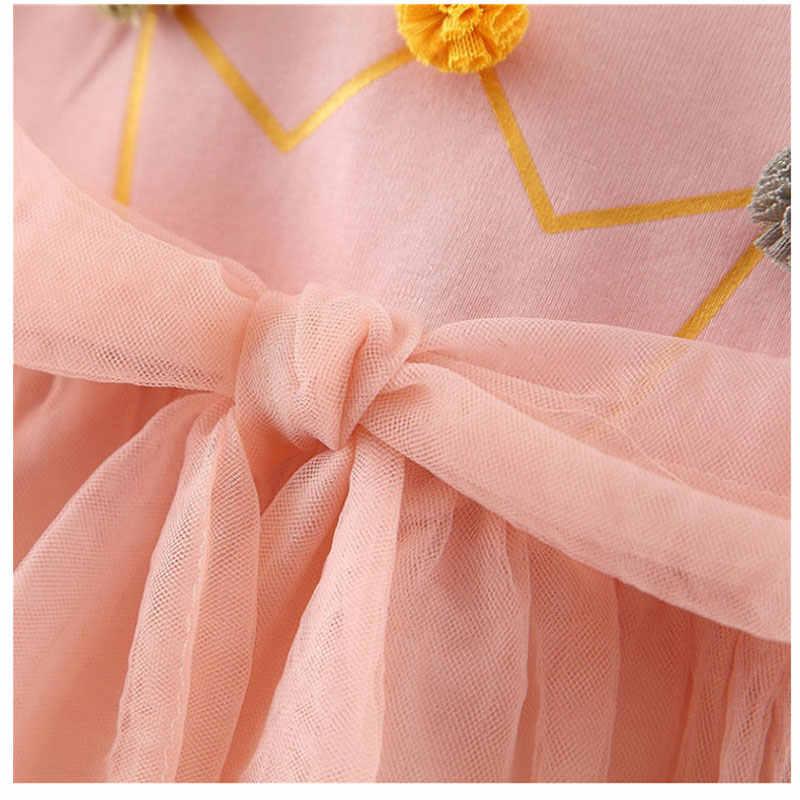 2019 תינוקות תינוקת בגדים ארוך שרוול רשת טוטו נסיכת שמלת ליילוד תינוק בנות בגדי 1 שנה יום הולדת שמלות שמלה