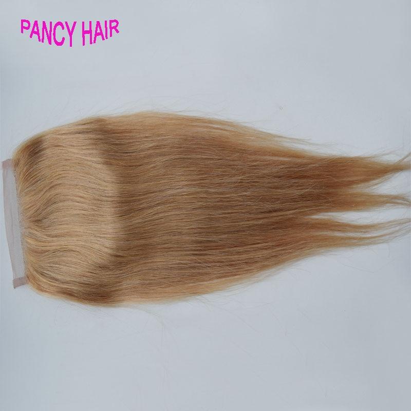 Honey Blonde font b Brazilian b font Lace Closure font b Straight b font Middle Free