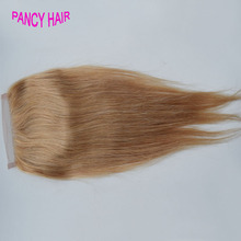 Honey Blonde Brazilian Lace Closure Straight Middle Free 3 Part Lace Closure Bleached Knots 7A Blonde Closure Straight #27