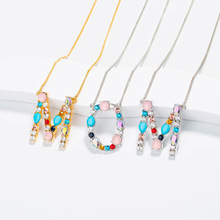 ROMAD Crystal 26 Letters Pendant Necklaces Colorful Bead Letter Chain Necklace Women Girl Mother Birthday Party Gift Jewelry R3
