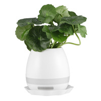 Unique Plastic Smart Music Flower Pots Wireless Bluetooth Speaker Play The Piano Decoration Planter Night Light