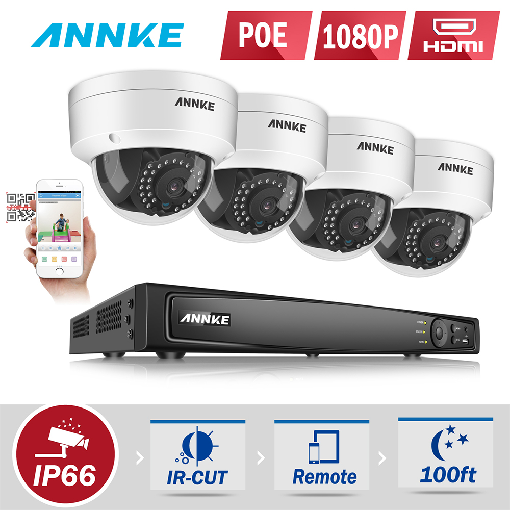 ANNKE 1080P POE Security Camera System 8CH 6MP Security NVR With 4PCS 1080P 2MP CCTV Dome Weatherproof Cameras 3D DNR WDR