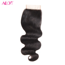 ALOT HAIR Body Wave Closure 4x4inch Malaysian Human Hair Closure Hand Tied Closures 100% Non-Remy Hair Free Part Lace Closure