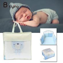 Free Shipping 6pcs/set Comfortable Baby Crib Cotton Bumper Bed Protector Nursery Care Bedding Cartoon Bag Bear Cute Animals