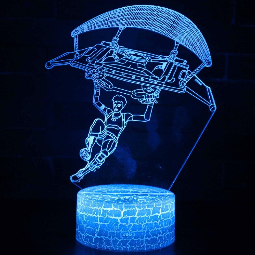 SHINEHENG juego Battle Royale 3D sueño lámpara cambiable paracaídas bomba protección luminosa juguetes con 7 luces de colores
