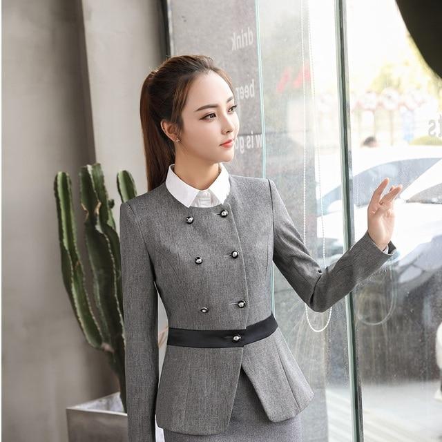 Formal Seragam Gaya Lengan Panjang Jaket untuk Wanita Kerja Kantor Memakai  Tahan Dr Blazer Atasan Wanita 353388d6e3