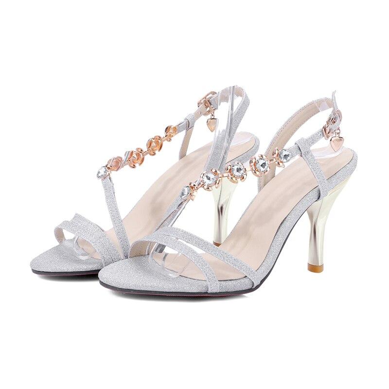 Sandali Tacchi Argento Alti Plus 2018 Sexy Party Scarpe estive Donna Oro Slim Flower Bling Cristalli Size 31 44 Rosa Donna Doratasia 87nqgwq