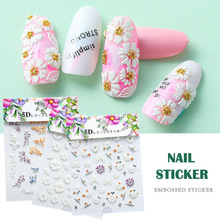 2019 Hot sale 5D Nail Stickers Flower Series Embossed Sticker
