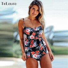 High Waist Push Up Plus Size Print Bathing Suit