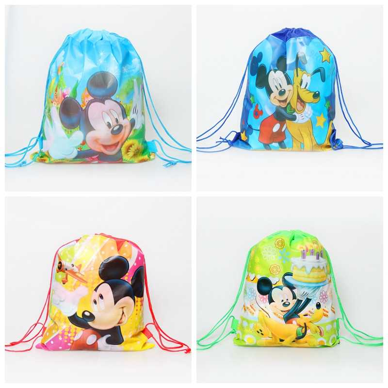1pcs non-woven drawstring school&travel backpacks mickey&minnie mouse fabric birthday gifts/goodie bags event party supplies