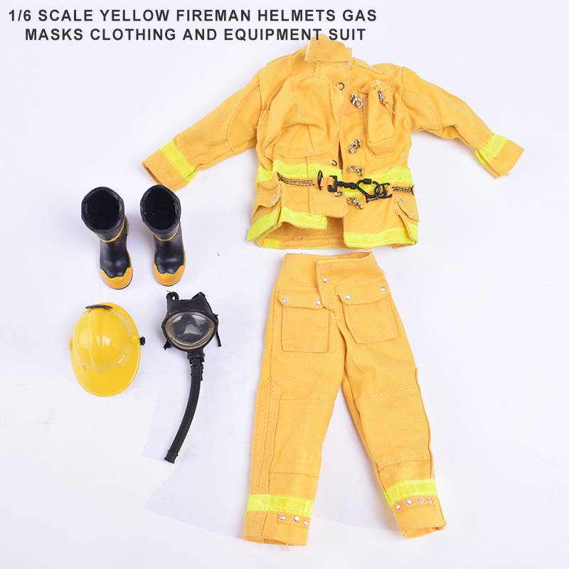 1/6 Scale Clothes Set Accessories Yellow Fireman helmets firefighter gas masks c