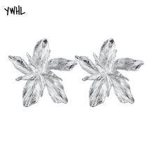 YWHL stylish temperament white flower big earrings, glamorous alloy punk dangle  earring for women 2019 stylish vivid big flower shape embellished elastic waistband for women