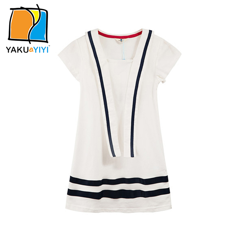 YKYY YAKUYIYI Girls White Dress Sweet Nautical Stripe Hem Baby Girl Dress Soft Short Sleeve Children A-line Dress Girls Clothing