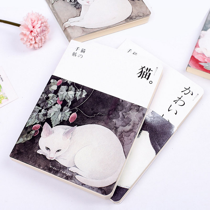 diary organizer Cat Blank Vintage Sketchbook Diary Drawing Watercolor Painting Notebook Paper 80 Sheets Office School Book kicute 1pc art thick blank paper sketchbook drawing book for drawing painting sketch scrawl student stationery pattern random