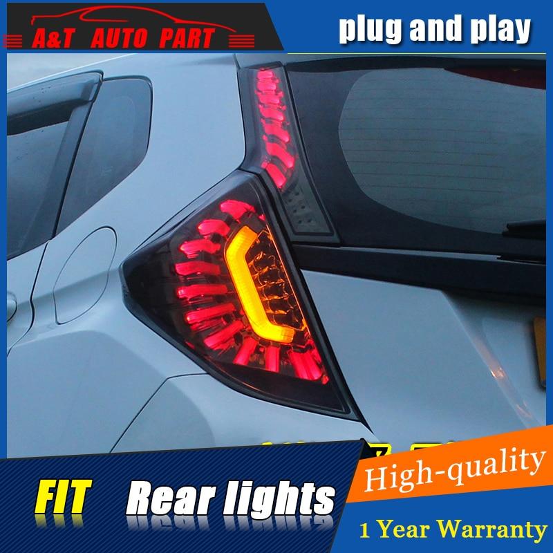 Стайлинга автомобилей светодиодные задние лампы для Honda приспосабливать фонарь в сборе 2014-2016 для Хонда фит задняя фара DRL+сигнала поворота света 4шт.