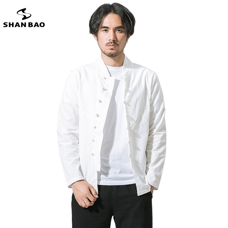 SHAN BAO original Chinese style men's casual long-sleeved shirt 2018 spring cotton and linen plate black shirt big size white